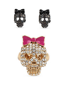 Betsey Johnson Skull Stretch Ring and Stud Earring Set