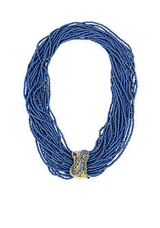 Betsey Johnson Gold-Tone Snake Frontal Seed Bead Multi Row Necklace