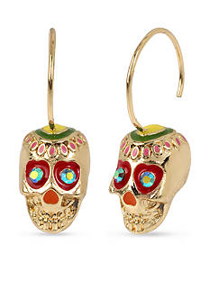 Betsey Johnson Gold-Tone Skull Drop Earrings
