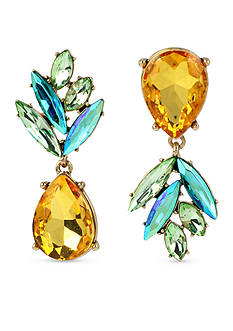 Betsey Johnson Gold-Tone Faceted Stone Pineapple Drop Earrings