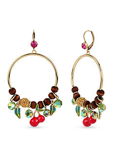 Betsey Johnson Gold-Tone Crystal Cherry Mixed Bead Gypsy Hoop Earrings