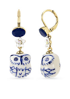 Betsey Johnson Gold-Tone Ceramic Owl Drop Earrings