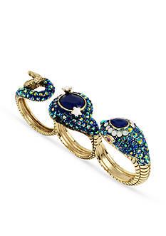 Betsey Johnson Gold-Tone Snake Three Finger Ring
