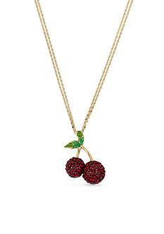 Betsey Johnson Gold-Tone Crystal Cherry Pendant Necklace