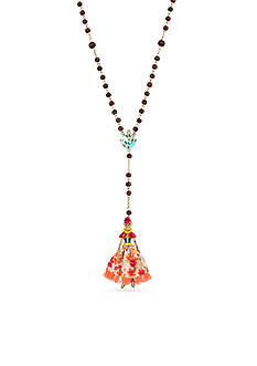 Betsey Johnson Gold-Tone Skull Girl Beaded Pendant Necklace