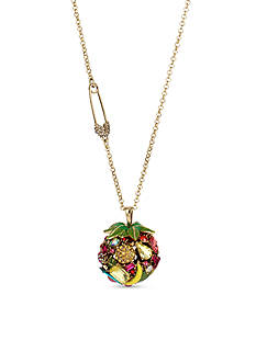 Betsey Johnson Gold-Tone Fruit Faceted Stone Ball Pendant Necklace