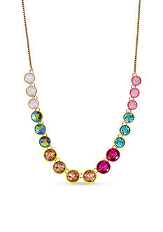 Betsey Johnson Gold-Tone Pastel Multicolored Faceted Stone Statement Necklace