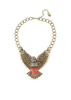 Betsey Johnson Gold-Tone Crystal Eagle Statement Necklace