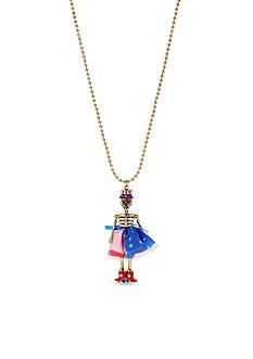Betsey Johnson Gold-Tone Americana Crystal Skull Girl Pendant Necklace