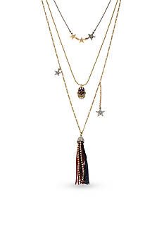 Betsey Johnson Gold-Tone Americana Crystal Skull Layered Necklace Set