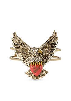 Betsey Johnson Gold-Tone Crystal Eagle Bangle Bracelet