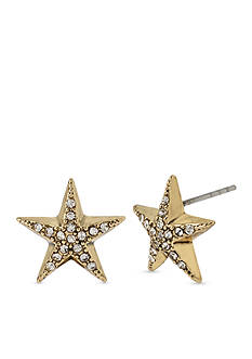 Betsey Johnson Gold-Tone Crystal Star Stud Earrings