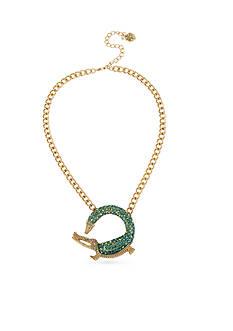 Betsey Johnson Gold-Tone Crystal Alligator Pendant Necklace