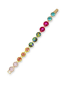 Betsey Johnson Gold-Tone Pastel Multi-Colored Faceted Stone Beaded Bracelet