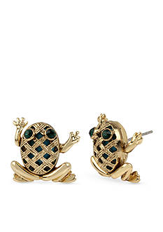 Betsey Johnson Gold-Tone Vintage Frog Stud Earrings