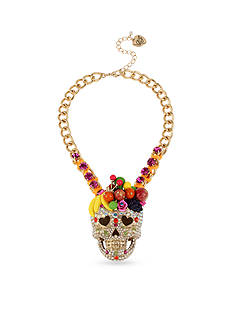 Betsey Johnson Gold-Tone Mixed Fruit Crystal Skull Pendant Necklace