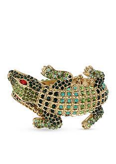 Betsey Johnson Gold-Tone Crystal Alligator Hinged Bangle Bracelet