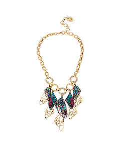 Betsey Johnson Gold-Tone Mixed Stone Butterfly Wing Statement Necklace