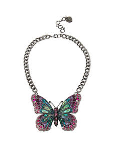 Betsey Johnson Hematite-Tone Mixed Stone Butterfly Pendant Necklace