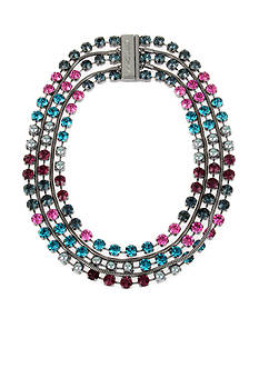 Betsey Johnson Hematite-Tone Faceted Stone Statement Necklace