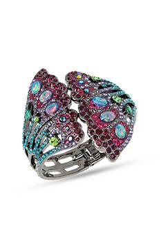 Betsey Johnson Hematite-Tone Mixed Stone Butterfly Cuff Bracelet
