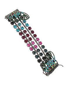 Betsey Johnson Hematite-Tone Mixed Faceted Stone Butterfly Multistrand Bracelet