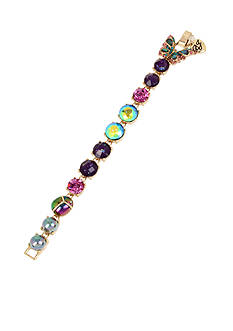 Betsey Johnson Gold-Tone Butterfly Mixed Faceted Stone Tennis Bracelet