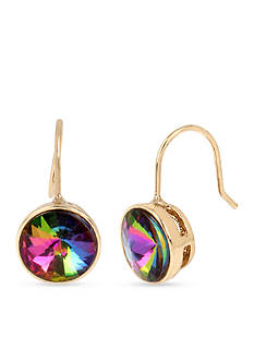 Betsey Johnson Gold-Tone Stained Glass Faceted Stone Drop Earrings