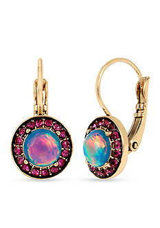 Betsey Johnson Gold-Tone Opal Faceted Stone Drop Earrings