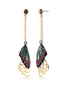 Betsey Johnson Gold-Tone Mixed Stone Butterfly Wing Linear Earrings