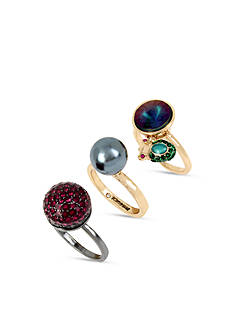 Betsey Johnson Two-Tone Mixed Stone Stackable Ring Set