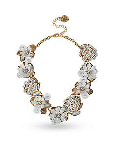 Betsey Johnson Gold-Tone Flower Faceted Stone Cluster Statement Necklace