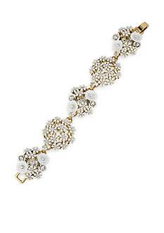 Betsey Johnson Gold-Tone Flower Cluster Beaded Bracelet