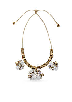Betsey Johnson Gold-Tone Flower And Faceted Stone Cluster Statement Necklace