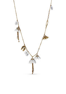 Betsey Johnson Gold-Tone Shaky Flower Charm Long Necklace