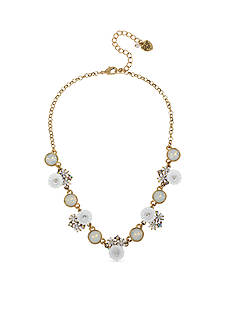 Betsey Johnson Gold-Tone Flower And Faceted Stone Chain Necklace