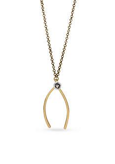 Betsey Johnson Gold-Tone Wishbone Pendant Necklace