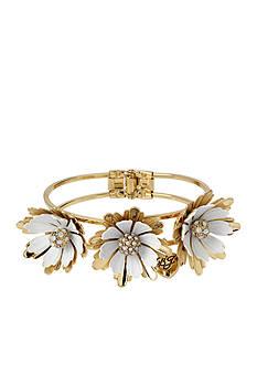Betsey Johnson Gold-Tone Flower Bangle Bracelet