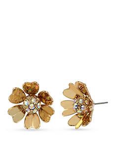 Betsey Johnson Gold-Tone Metal Flower Stud Earrings