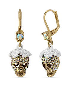 Betsey Johnson Gold-Tone Crystal Skull Drop Earrings