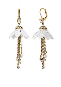 Betsey Johnson Gold-Tone Flower And Chain Drop Earrings