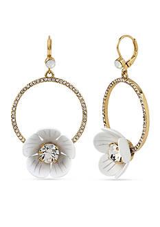 Betsey Johnson Gold-Tone Flower Crystal Gypsy Hoop Earrings