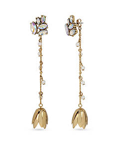 Betsey Johnson Gold-Tone Faceted Stone Cluster And Chain Flower Front And Back Earrings