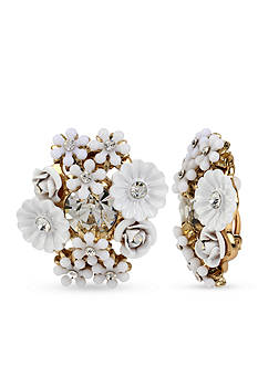 Betsey Johnson Gold-Tone Flower Cluster Button Clip-On Earrings