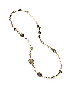 Betsey Johnson Gold-Tone Mixed Coin Long Necklace