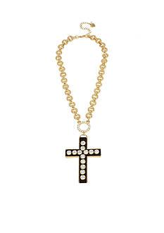 Betsey Johnson Gold-Tone Large Cross Pendant Necklace