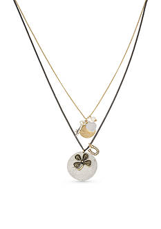 Betsey Johnson Multi-Tone Mixed Multi Charm Double Pendant Necklace