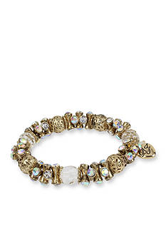 Betsey Johnson Gold-Tone Faceted Bead Stretch Bracelet