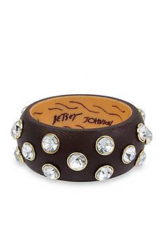 Betsey Johnson Gold-Tone Faceted Stone Bangle Bracelet