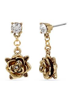 Betsey Johnson Gold-Tone Rose Drop Earrings